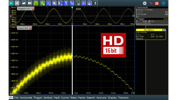 An oscilloscope with 16-bit vertical resolution enables more precise analysis of signal details.
