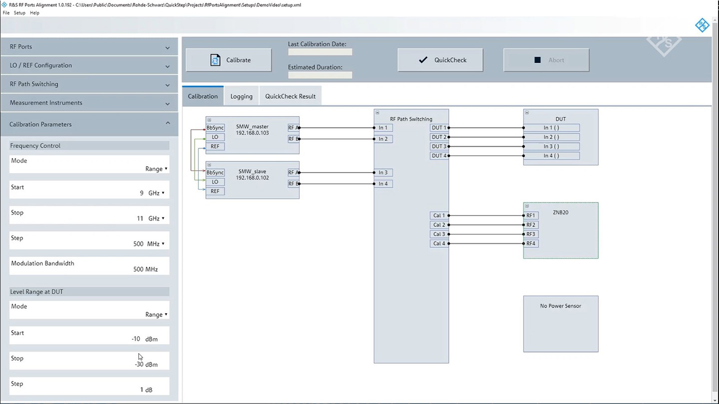 Intuitive GUI of the R&S®RF Ports Alignment Software