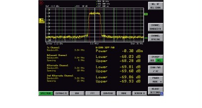 Measurement of the adjacent channel power of a 3GPP base station signal.