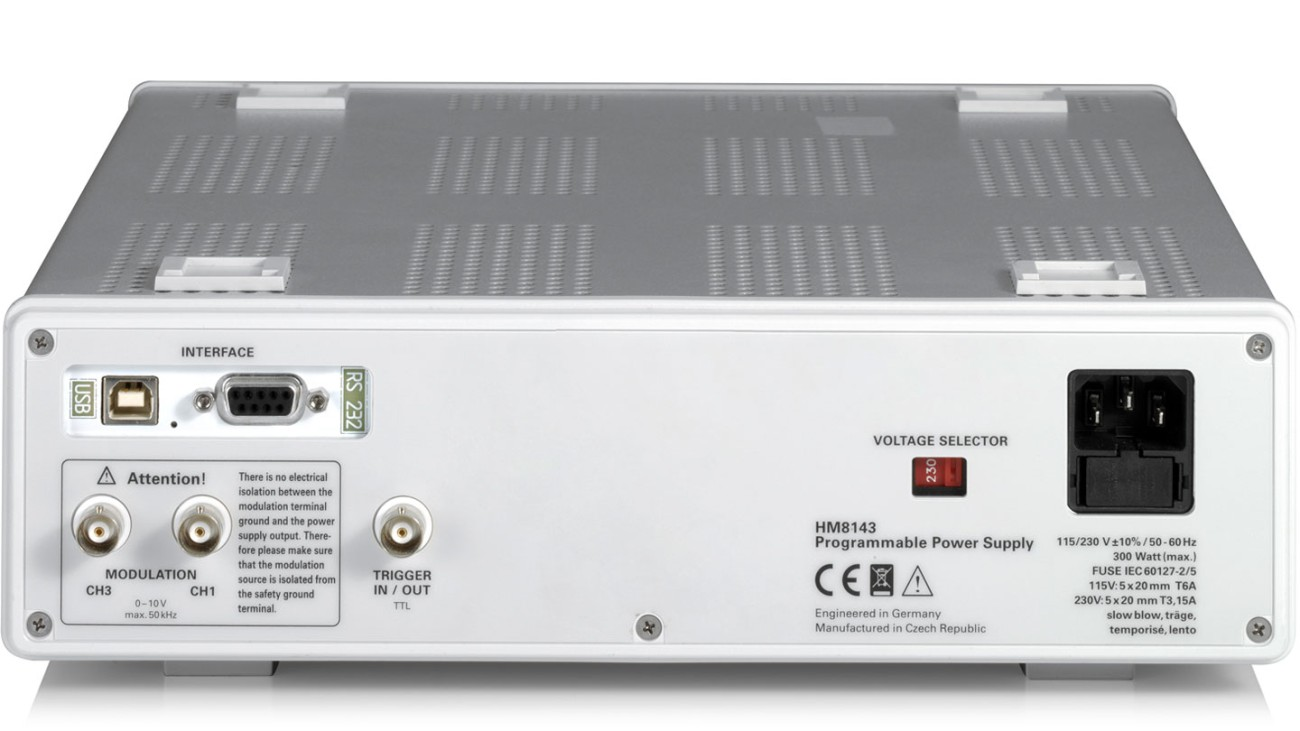 R&S®HM8143 Three-channel arbitrary power supply, rear view