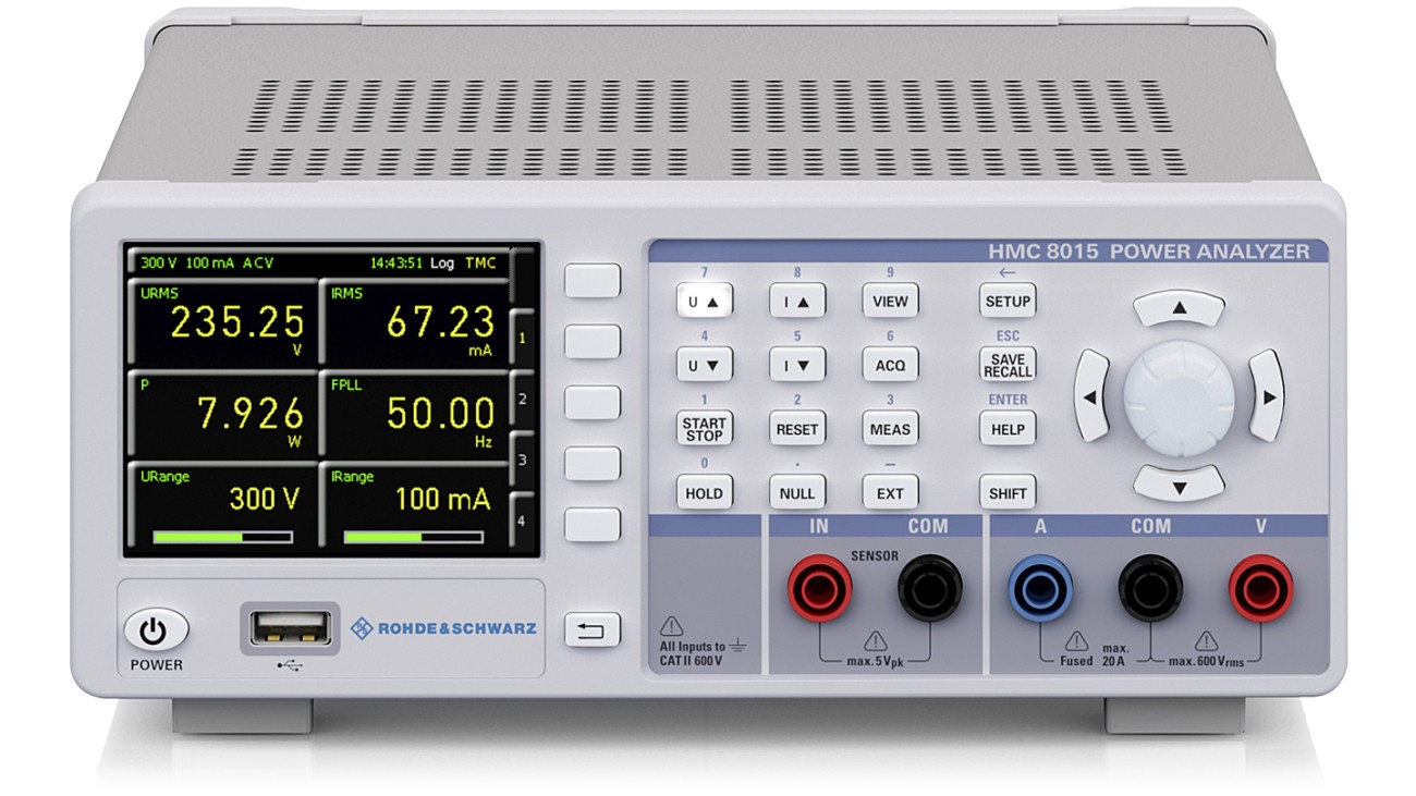 R&S®HMC8015 All-in-one Power Analyzer, front view