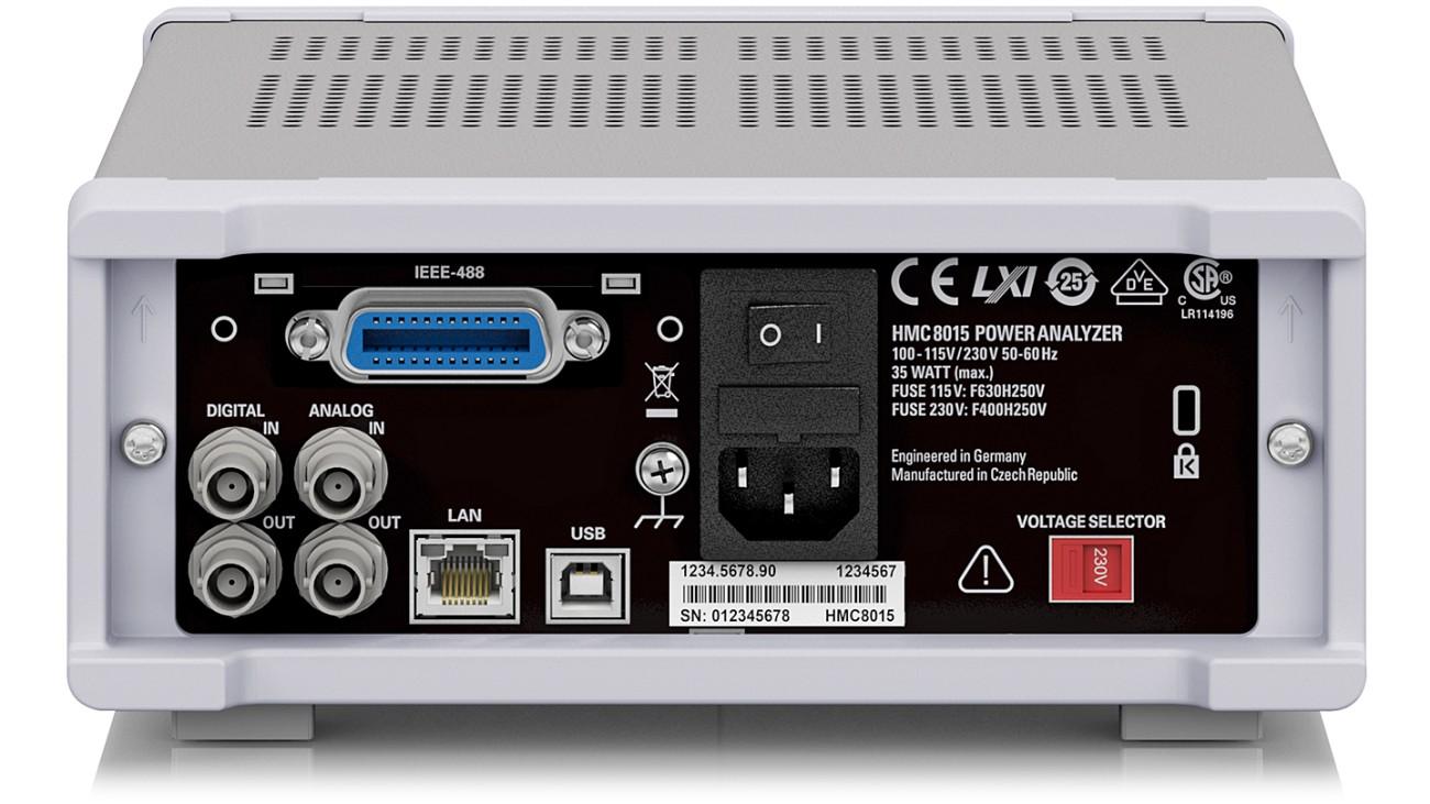 R&S®HMC8015 All-in-one Power Analyzer, rear view
