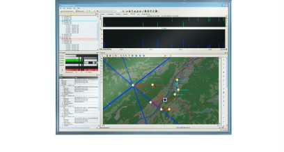 User interface of the R&S®Presentation Suite software showing monitoring data from the 8 MHz to 12 MHz frequency range.