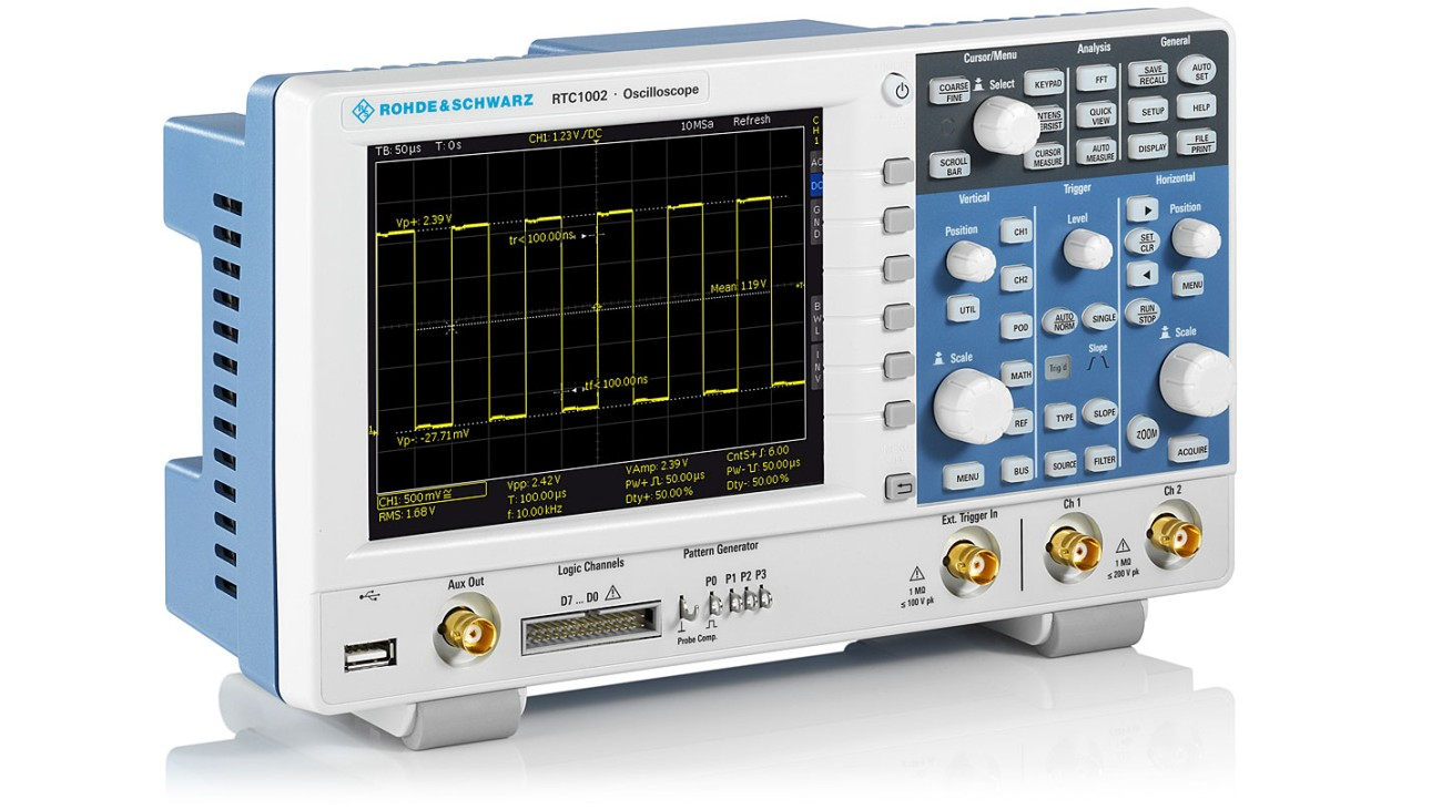 R&S®RTC1000 oscilloscope, side view