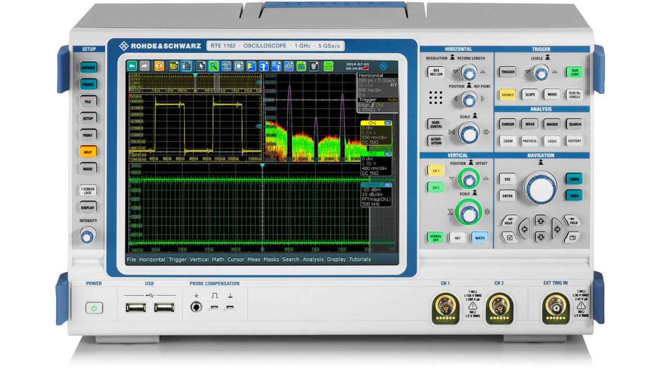 R&S®RTE1000 oscilloscope, 2 channel model