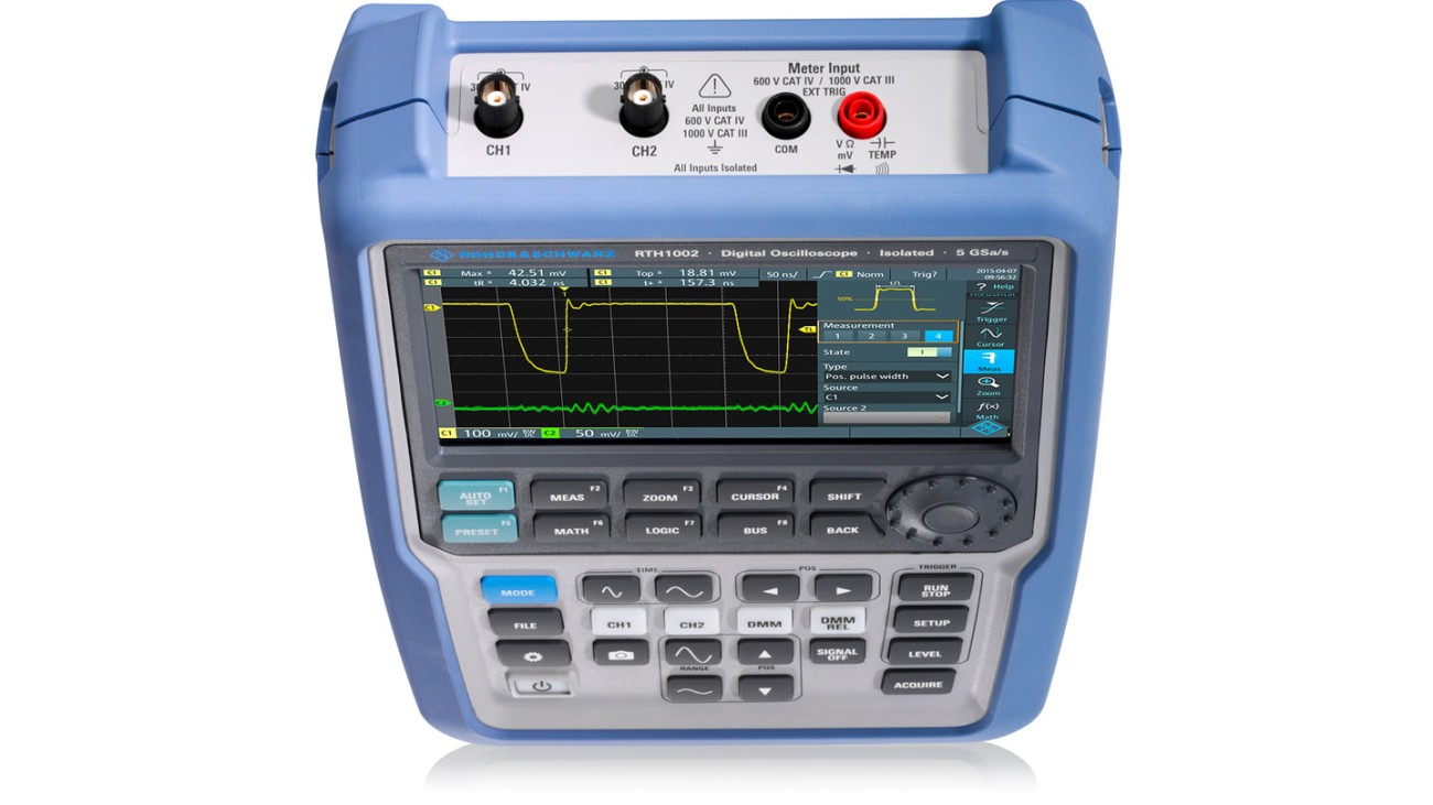 R&S®Scope Rider handheld oscilloscope, 2 channel model with DMM