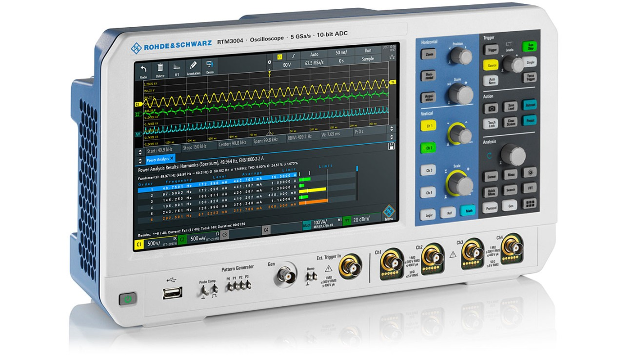 R&S®RTM3000 oscilloscope, side view