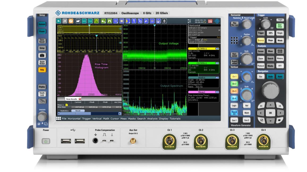 R&S®RTO2000 oscilloscope, front view