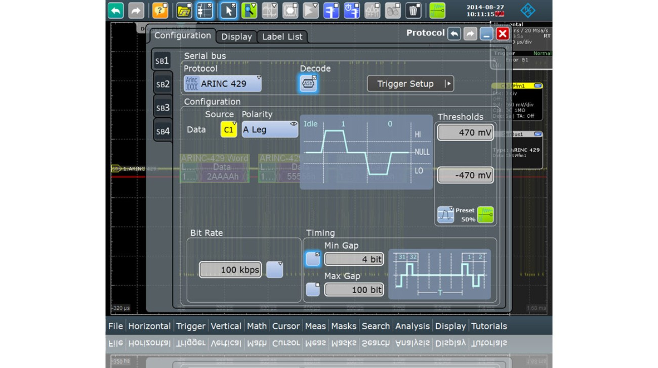 Oscilloscope-Software-RTx-K7-ARINC-429-Serial-Triggering-and-Decoding