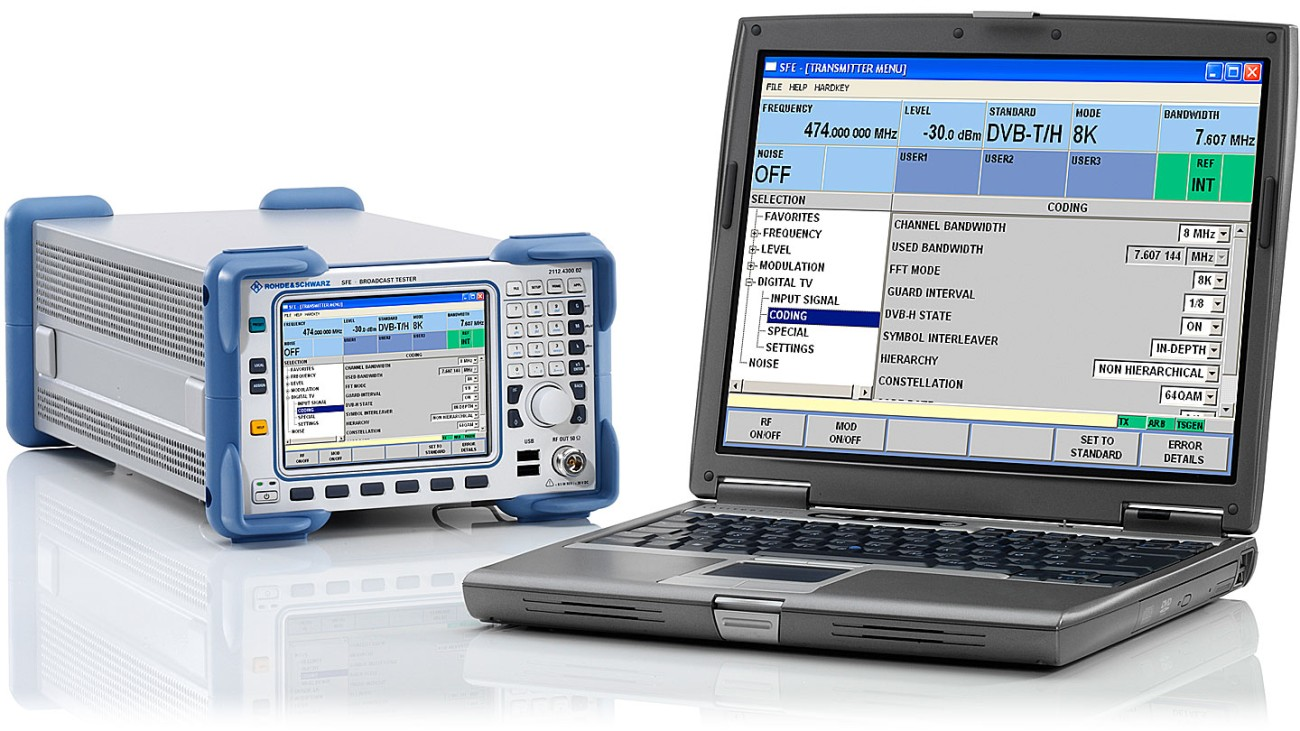 R&S®SFE broadcast tester with PC GUI