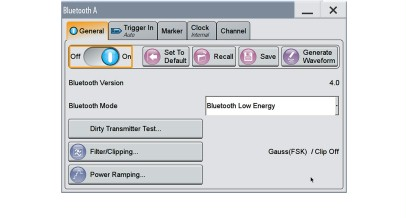 Basic configuration window for generating Bluetooth signals.