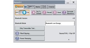 Basic configuration window for generating Bluetooth signals.