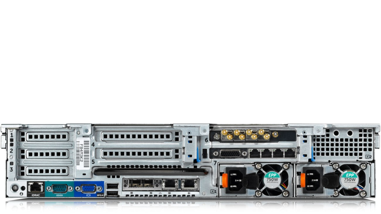 R&S®VENICE video server, rear view with exchangeable SFP+ modules