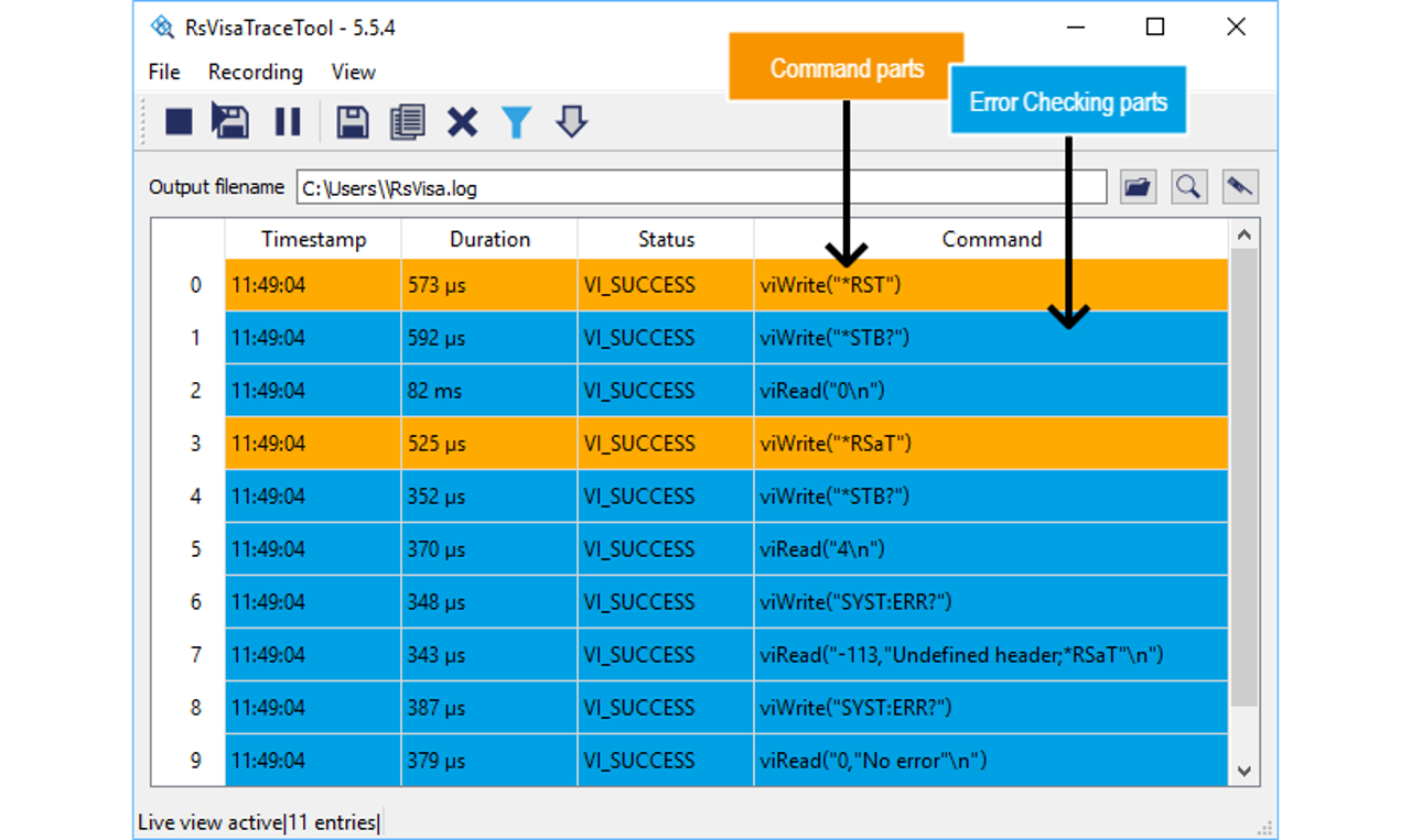RsVisaTraceTool log with error checking