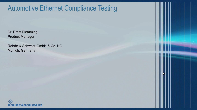 Webinar: Automotive Ethernet compliance testing
