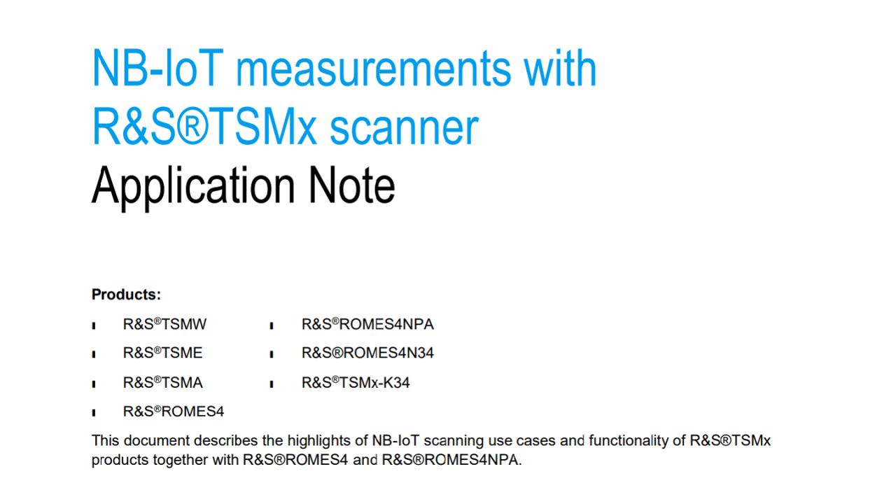 Application note: NB-IoT scanner measurements