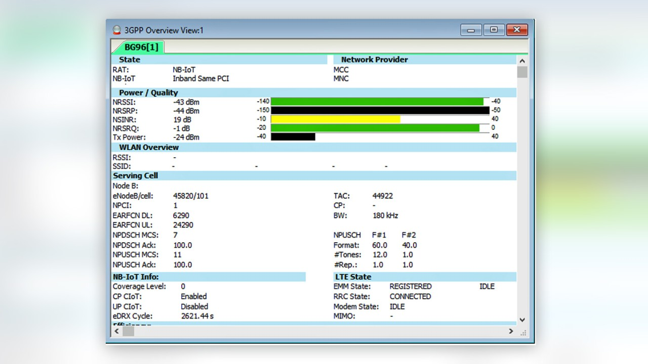 R&S®ROMES4 NB-IoT overview view