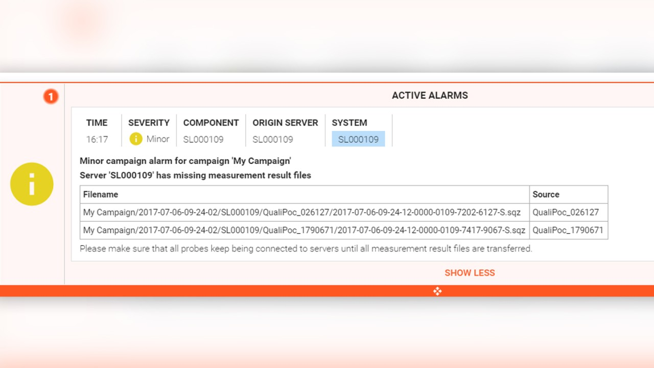 Alarm showing missing measurement files