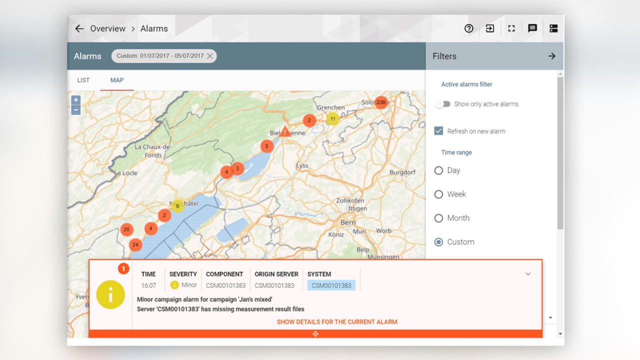 Map view displaying alarms in clusters