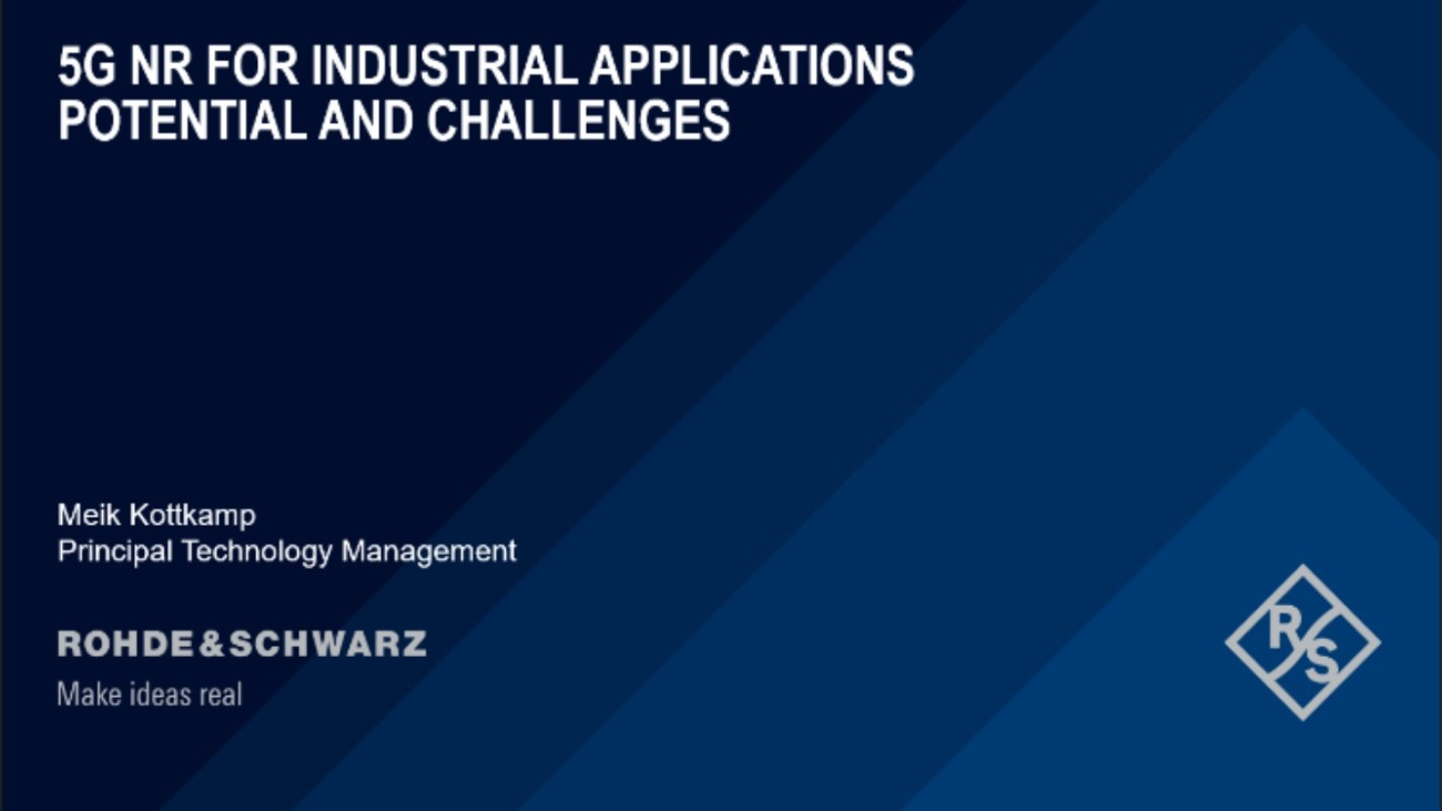 Webinar: 5G NR for industrial applications – Potential and challenges