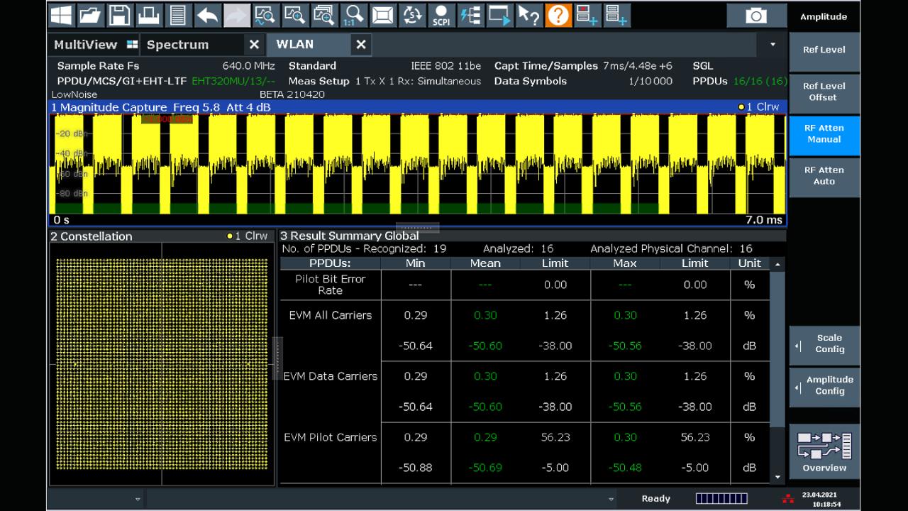 IEEE 802.11be signal analysis of a 320 MHz EHT-MU PDDU with the R&S®FSW signal and spectrum analyzer