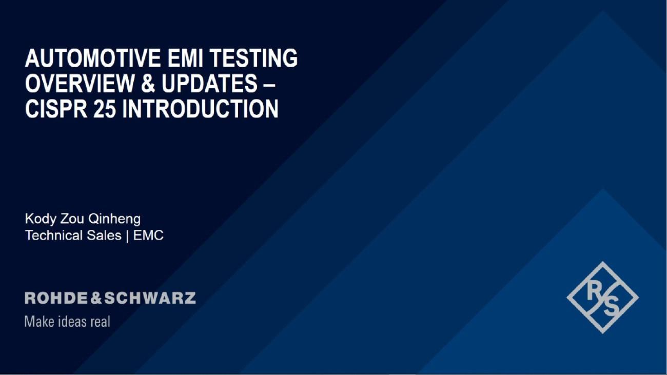 Webinar: Automotive EMI testing overview and updates - CISPR 25 introduction