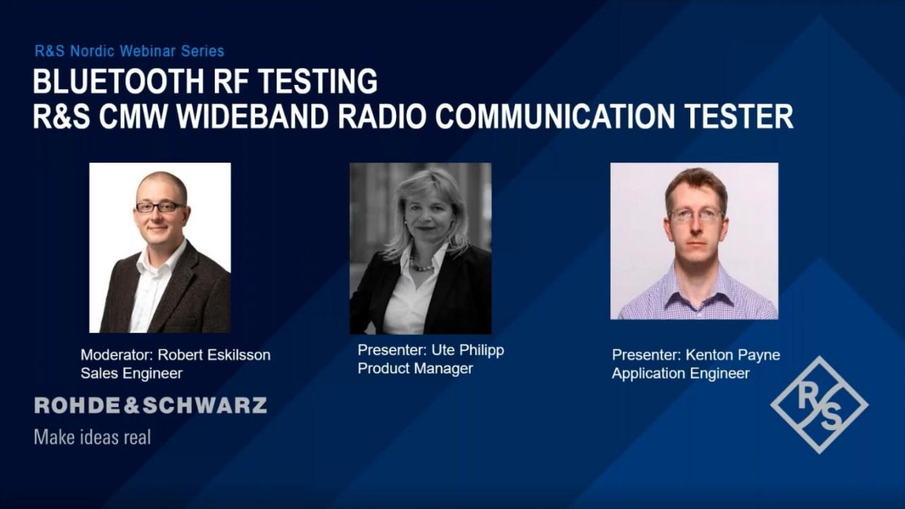 Bluetooth RF Testing with R&S®CMW Wideband Radio Communication Tester
