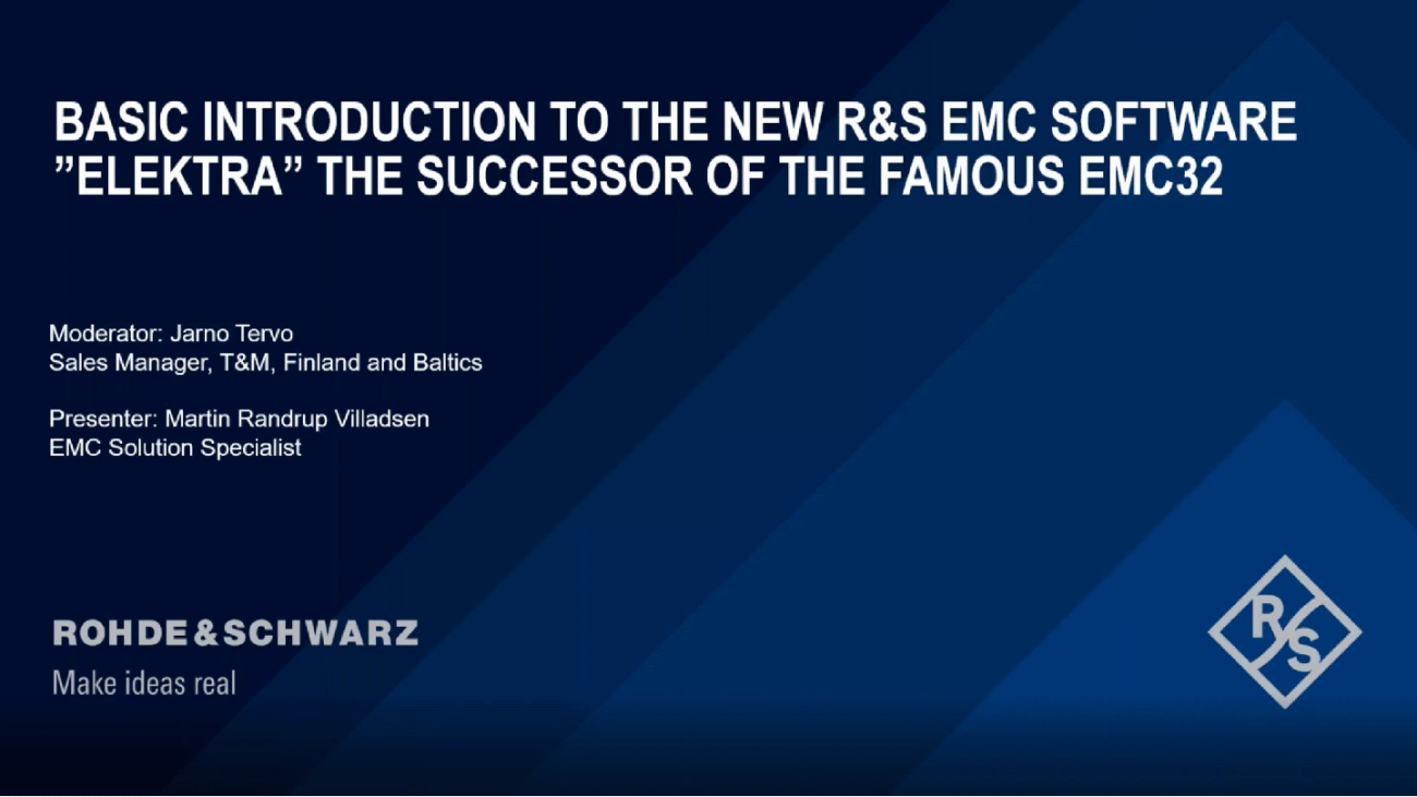 """Basic Introduction to the New R&S EMC Software """"Elektra"""" the Successor of the famous R&S®EMC32"""