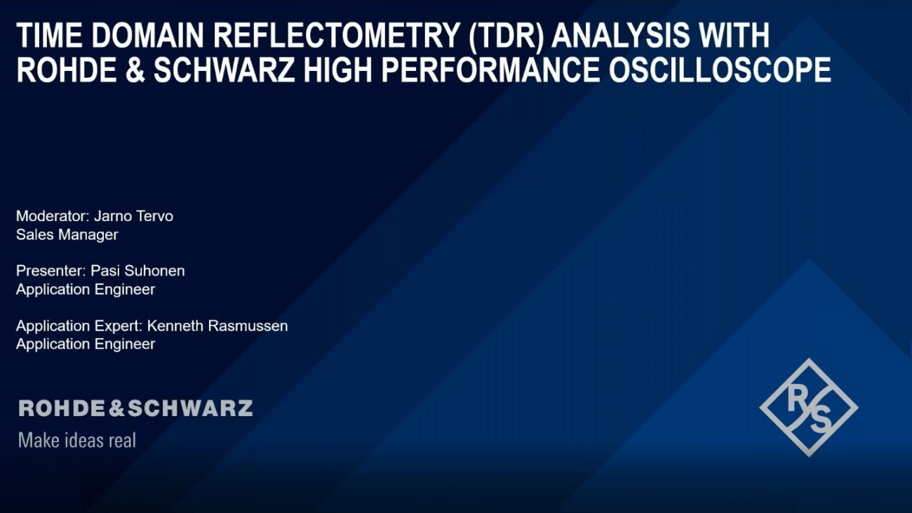 Time Domain Reflection (TDR) and/or Transmission (TDT) Analysis with Rohde & Schwarz High Performance Oscilloscope