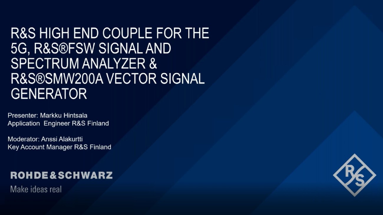 Rohde & Schwarz High End Couple for the 5G: R&S®FSW Signal and Spectrum Analyzer & R&S®SMW200A Vector Signal Generator