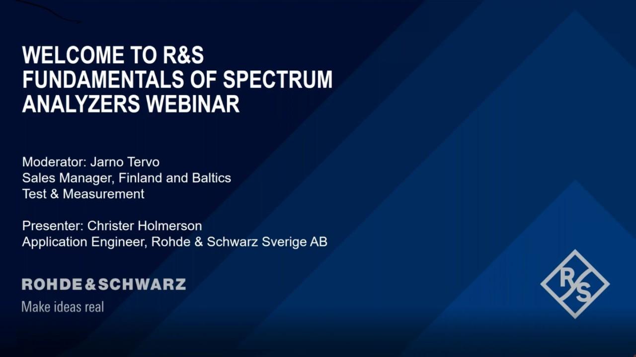 Introduction to Rohde & Schwarz Fundamentals of Spectrum Analyzers