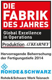 """Rohde & Schwarz-Werk Teisnach ist """"Fabrik des Jahres 2014"""""""