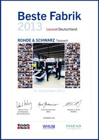 """Rohde & Schwarz zählt zu den Preisträgern beim Wettbewerb """"Die Beste Fabrik 2013"""""""